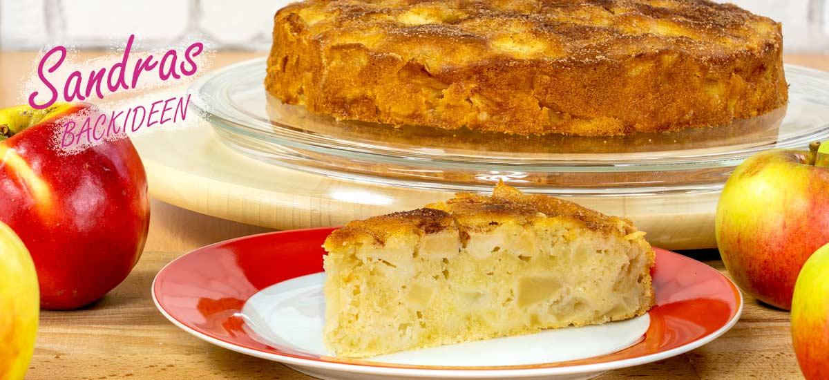 saftiger Apfelkuchen mit Zimt und Zucker