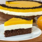 Pfirsich Sahne Torte mit Schokobiskuit