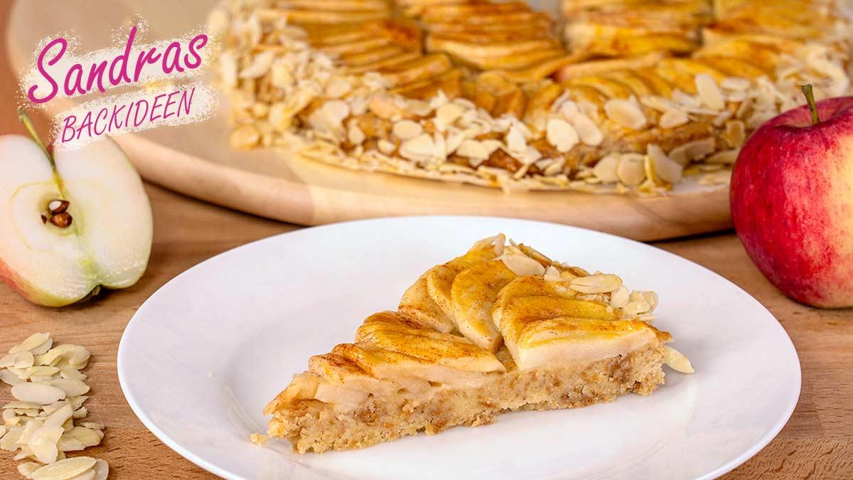 Apfel-Amaretti-Kuchen mit Knusperboden